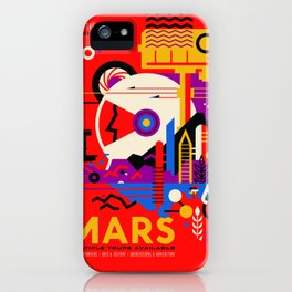 NASA Mars The Red Planet Retro Poster Futuristic Best Quality iPhone Case