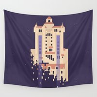 hollywood Wall Tapestries featuring The Hollywood Tower Hotel by Rob Yeo Design