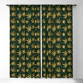 Marijuana leaf seamless pattern background in gold color Blackout Curtain