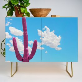 Pink Saguaro Against Blue Cloudy Sky Credenza