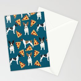 Rat Terrier pizza dog breed pet portrait dog pattern dog breeds gifts for dog lovers Stationery Cards