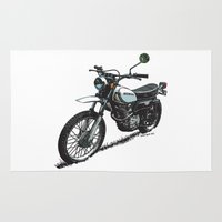 honda Area & Throw Rugs featuring Honda XL250 Vintage Motorcycle Artwork by Ernie Young