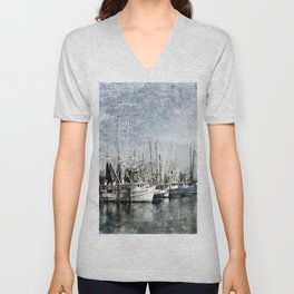 Shrimp Boats at the Pass Harbor Unisex V-Neck