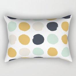 Tinsley - painted dots polka dots minimalist decor nursery gold navy Rectangular Pillow