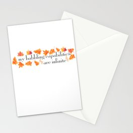 MY BABBLING CAPABILITIES Stationery Cards