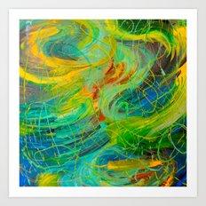 NAUTICAL GALAXY - Beautiful Aquatic Blue Green Ocean Universe Abstract Acrylic Painting Gift Decor Art Print
