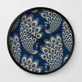 Blue and Gold Art Deco Peakock Wall Clock