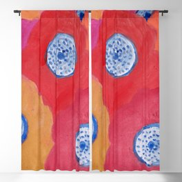 Hippy flowers watercolor Blackout Curtain