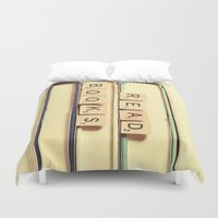 books Duvet Covers featuring Read Books by Olivia Joy StClaire