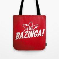 bazinga Tote Bags featuring Atom Bazinga! by Nxolab