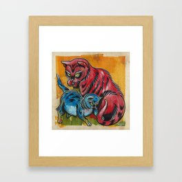 Blue and Red Cats Framed Art Print