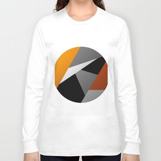 Metallic Moon - Abstract, metallic textured geometric moon space artwork Long Sleeve T-shirt