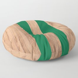 Wood Grain Stripes - Green #319 Floor Pillow