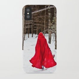 Little Red Riding Hood Runs Through The Woods In Winter iPhone Case
