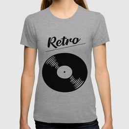 Retro record music logo T-shirt