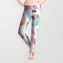 boho style feathers and dreamcatchers Leggings