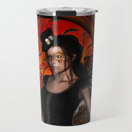 Wonderful steampunk lady with wings and hat Travel Mug