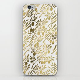 Gold Olive Branches iPhone Skin