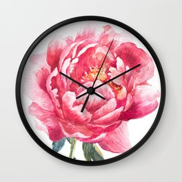 Watercolor Peony Wall Clock