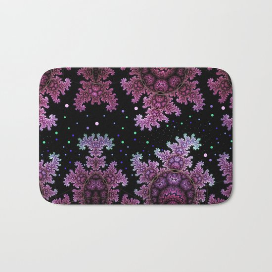 Magical fantasy patterns in purple, pink and green Bath Mat