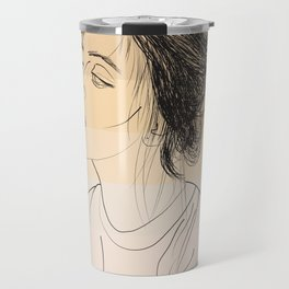 Simple Skintones Drawing of Woman Sucking Lollipop Travel Mug
