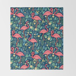 Flamingo Blue Pattern Throw Blanket