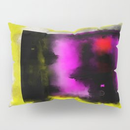 Confined - Abstract, geometric oil painting in red, black, yellow and purple Pillow Sham