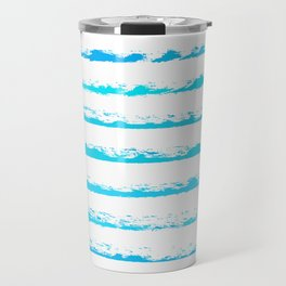 Turquoise blue stripes, hand painted rough texture, squared Travel Mug
