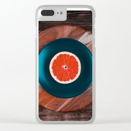 Music and Food - vinyl record concept Clear iPhone Case