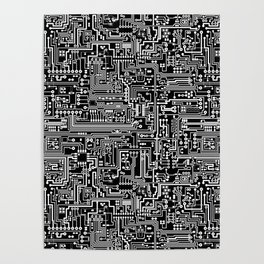 Circuit Board on Black Poster