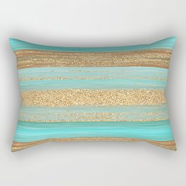 Turquoise Brown Faux Gold Glitter Stripes Pattern Rectangular Pillow