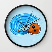 aquarius Wall Clocks featuring Aquarius by Giuseppe Lentini