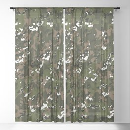Woodlands Multicamo Camouflage Pattern Sheer Curtain