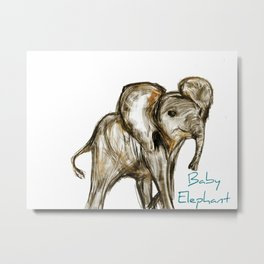 Baby Elephant Blue Metal Print