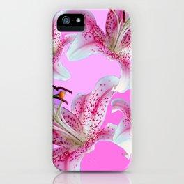 PURPLE & PINK ASIAN LILIES ART iPhone Case