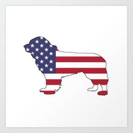 "Newfoundland Dog ""American Flag"" Art Print"