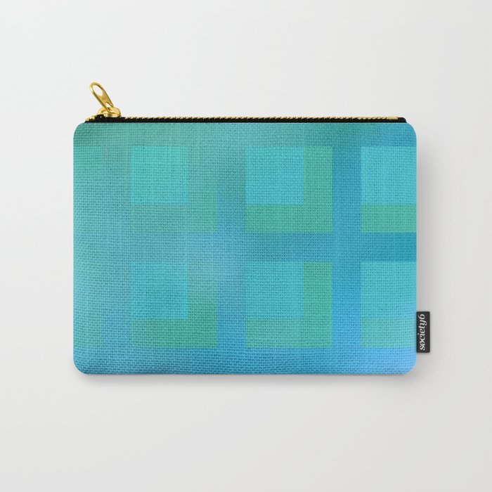 Soft Shades of Turquoise Plaid Carry-All Pouch