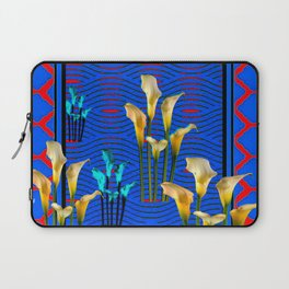 white Calla Lilies Blue & Red Pattern Art Laptop Sleeve