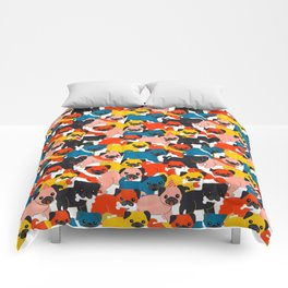 COLORED PUGS PATTERN no2 Comforters
