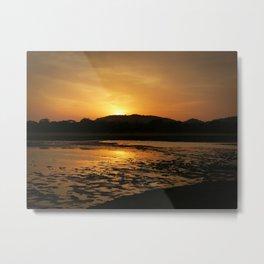 Sunset at Minneriya National Park Sri Lanka Metal Print
