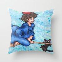 kiki Throw Pillows featuring Kiki by Kimberly Castello