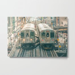 Two El Trains Above Wabash in Chicago Train Subway Elevated Metal Print