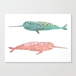 Narwhals on their way Canvas Print