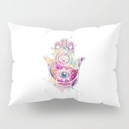 Hamsa Hand Colorful Purple Watercolor Art Gift Pillow Sham