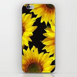 Large Sunflowers on a black background #decor #society6 #buyart iPhone Skin