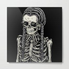 Wednesday Skeleton Metal Print