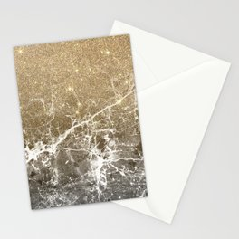 Vintage black white gold glitter marble Stationery Cards