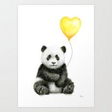 Panda with Yellow Balloon Baby Animal Watercolor Nursery Art Art Print