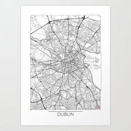 Dublin Map White Art Print