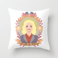 leslie knope Throw Pillows featuring Leslie Knope by heymonster